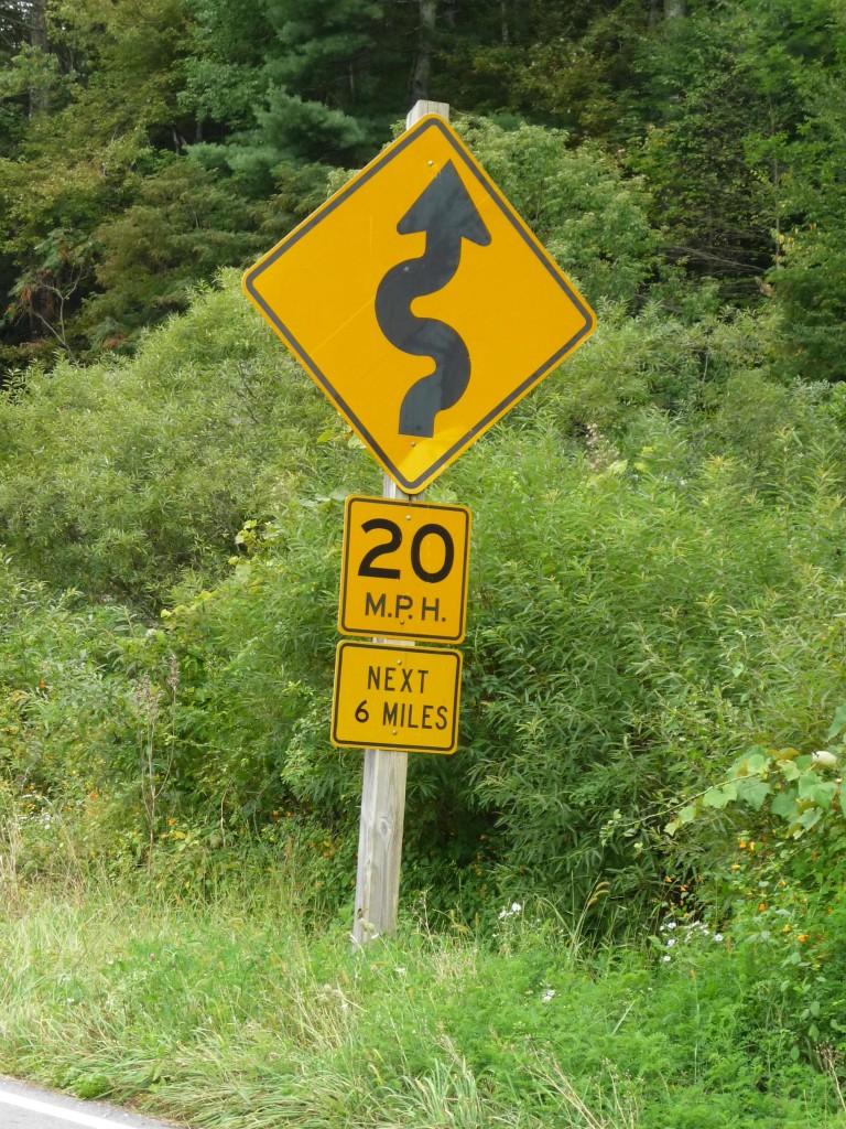 Sign for twisties near Montebello, Virginia