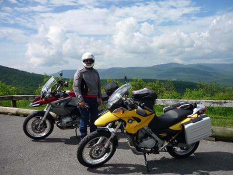 motorcycles above scenic highway on a motorcycle ride in virginia and west virginia